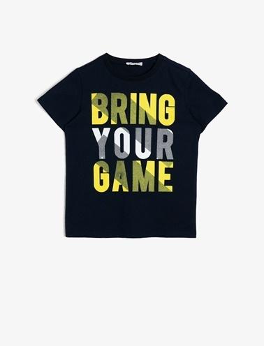 Koton Kids Yazili Baskili T-Shirt Mavi